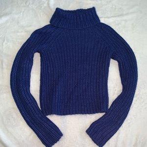 Blue Turtleneck Cable knit Crop Sweater Size S